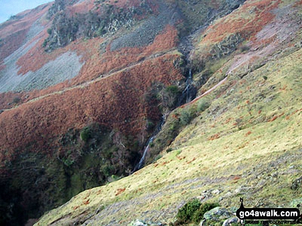 Walk c428 The Langdale Pikes, High Raise and The Easedale Fells  from Grasmere - Megs Gill from Silver How