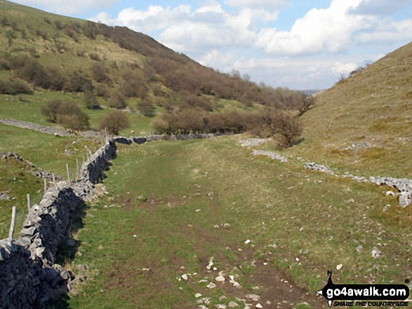 Looking South up Deep Dale. Walk route map d249 The Monsal Trail, Miller's Dale and Chelmorton from Wye Dale photo