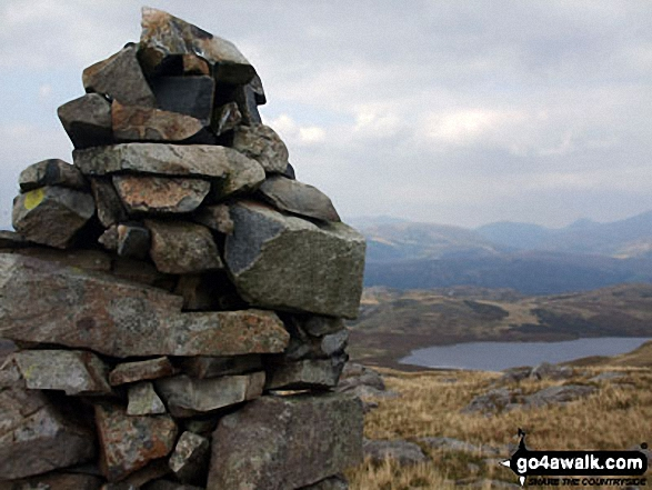 White Pike (Birkby Fell) summit cairn above Devoke Water