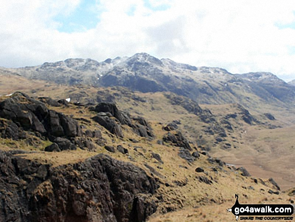 Walk c402 Harter Fell and Hard Knott from The Woolpack Inn, Eskdale - A dusting of snow on Crinckle Crags from Great Moss