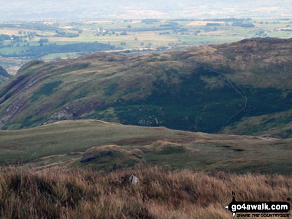 Looking down to Nabs Moor from Howes. Walk route map c251 The Mardale Head Horizon from Mardale Head photo