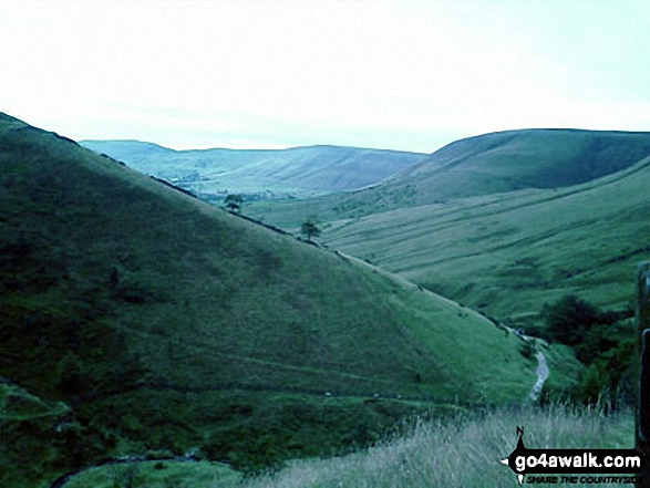The Edale Valley from Jacob's Ladder (Edale). Walk route map d296 Jacob's Ladder and Kinder Scout from Edale photo