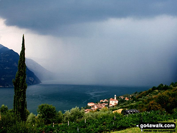 Storm approaching over Lake Iseo from Monte Isola