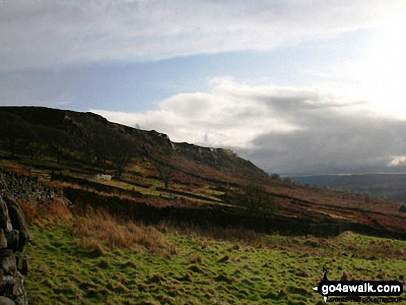 Baslow Edge from Curbar Gap with a storm approaching from South