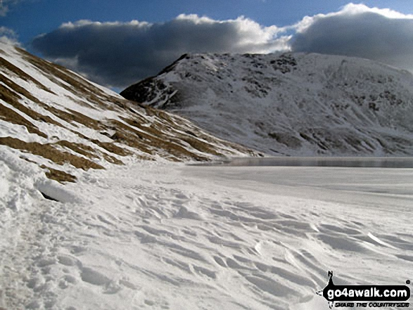 Angle Tarn (Martindale)in the snow. Walk route map c304 Beda Head and Place Fell from Howtown photo