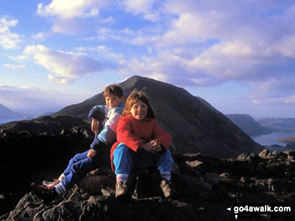 Matt and Bex on Hay Stacks (Haystacks) with Gamlin End,High Crag and Crummock Water in the background. Walk route map c228 Hay Stacks from Buttermere photo