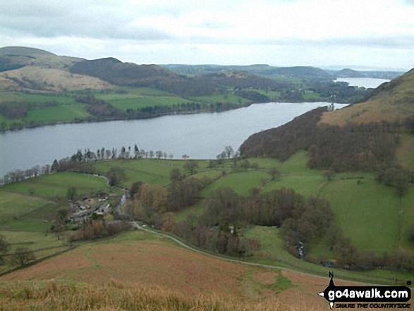 Sandwick and Ullswater from the lower slopes of High Dodd (Sleet Fell). Walk route map c304 Beda Head and Place Fell from Howtown photo