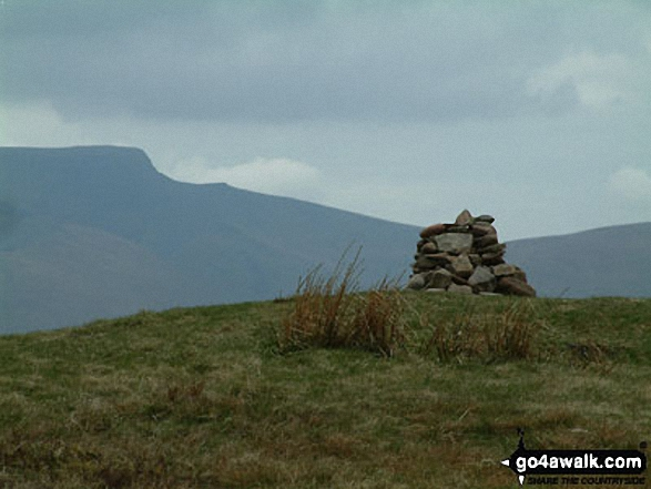 Great Mell Fell Summit cairn with Sharp Edge (left) clearly visible beyond