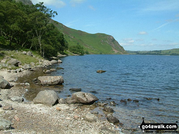 Angler's Crag from the shores of Ennerdale Water. Walk route map c130 Haycock and Steeple from Ennerdale Water photo