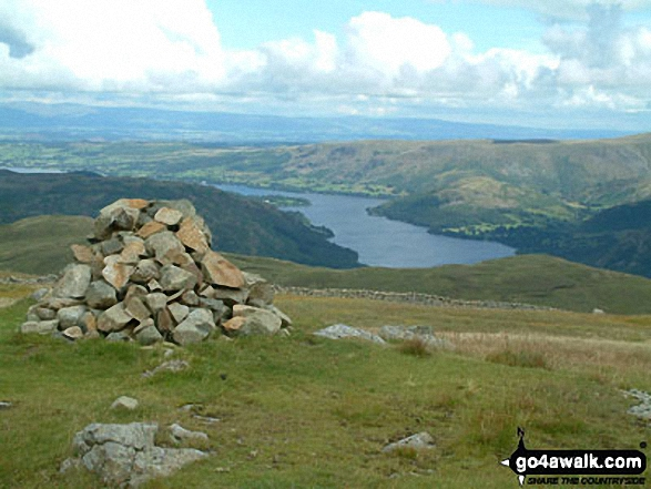 Ullswater from the cairn on Birkett Fell near Hart Side. Walk route map c146 The Dodds from Dockray photo