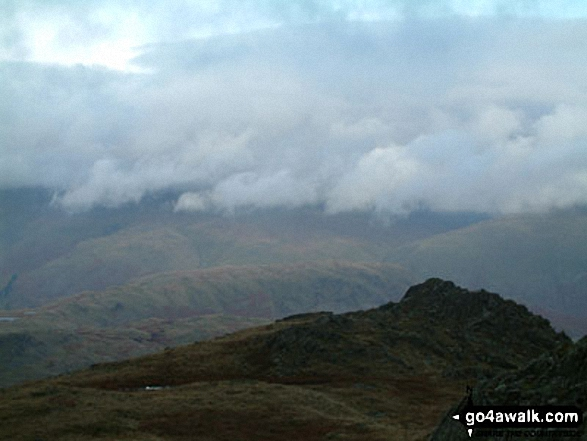 Clouds over the Langdale Pikes from near Sergeant Man