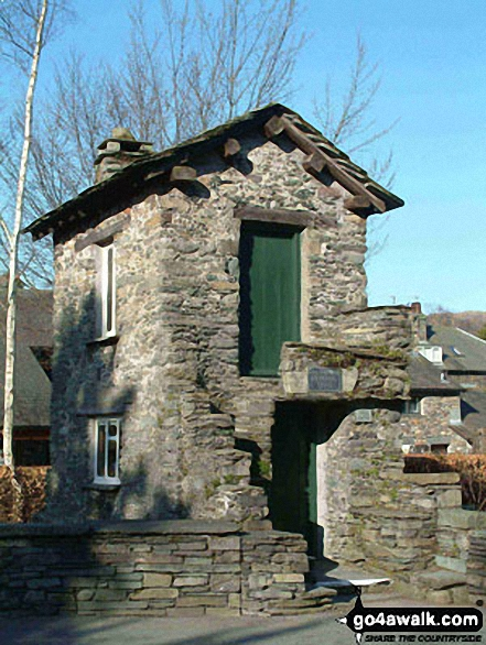 The famous Bridge House in Ambleside. Walk route map c247 The Fairfield Horseshoe from Ambleside photo