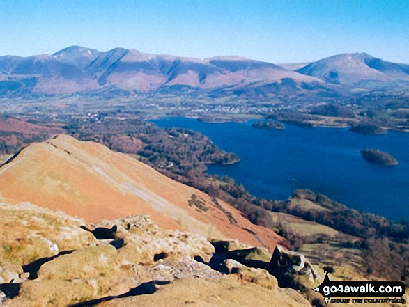 Cat Bells (Catbells) and Skiddaw from Maiden Moor. Walk route map c399 Cat Bells and Derwent Water from Keswick photo