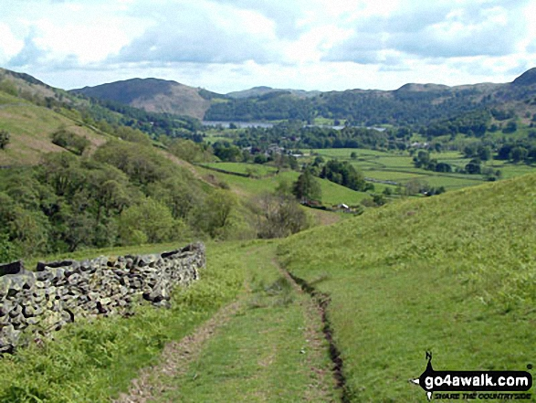 Path towards Mill Bridge from Seat Sandal. Walk route map c266 Seat Sandal and Fairfield from Grasmere photo