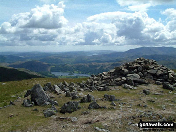 Seat Sandal summit. Walk route map c358 Seat Sandal, Fairfield and Heron Pike from Grasmere photo