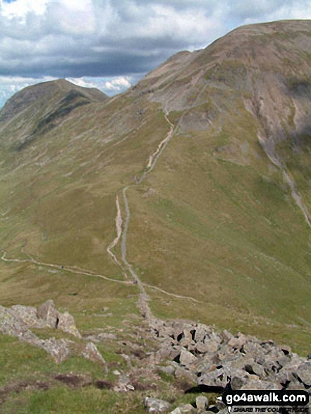 St Sunday Crag (left), Fairfield (right) and Grisedale Hause from Seat Sandal
