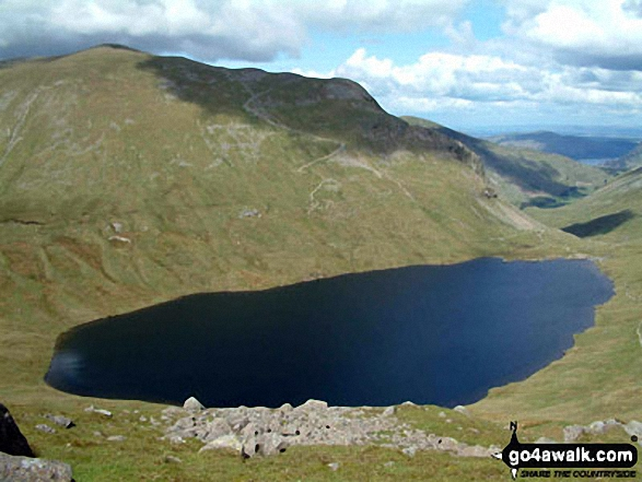 Grisedale Tarn from Seat Sandal. Walk route map c266 Seat Sandal and Fairfield from Grasmere photo