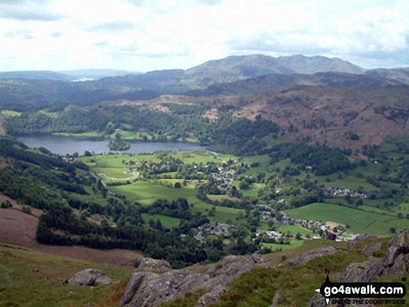 Grasmere from Stone Arthur. Walk route map c266 Seat Sandal and Fairfield from Grasmere photo