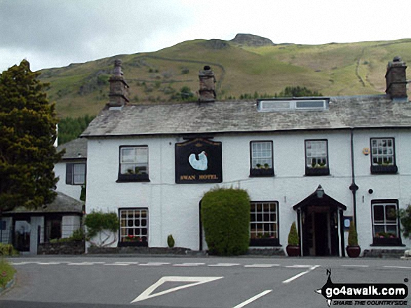 The Swan Hotel near Grasmere with Stone Arthur beyond. Walk route map c266 Seat Sandal and Fairfield from Grasmere photo