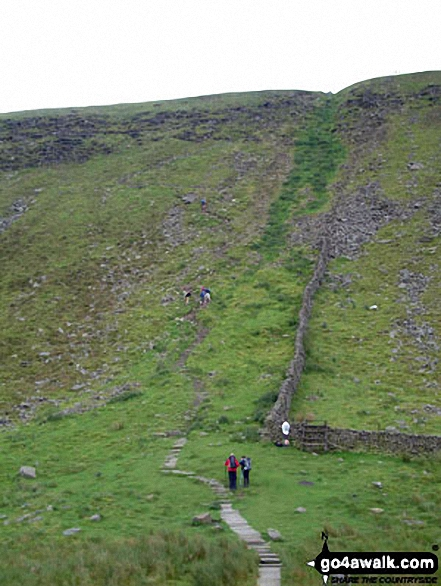 The zig-zag path to the ridge below Ingleborough