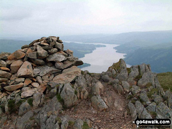 Ullswater from Sheffield Pike summit. Walk route map c394 Helvellyn, Catstye Cam and Sheffield Pike from Glenridding photo