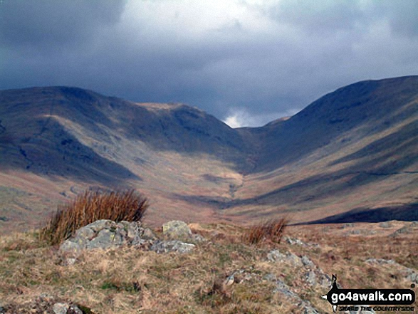 Stony Cove Pike (Caudale Moor) (left), Thresthwaite Mouth and Thornthwaite Crag (right) from the Northern end of Troutbeck Tongue