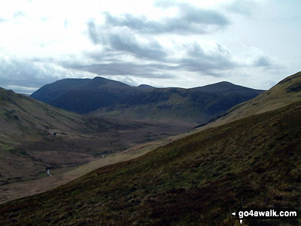 Mosedale with Red Pike (Buttermere) (centre left) and Starling Dodd (centre right) beyond from the lower slopes of Hen Comb