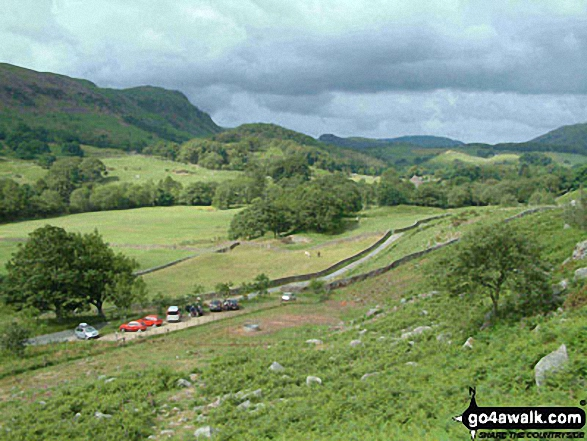 Wha House Farm and Esk Dale with Kepple Crag beyond from Hare Crag. Walk route map c110 The Eskdale Skyline from Wha House Farm, Eskdale photo