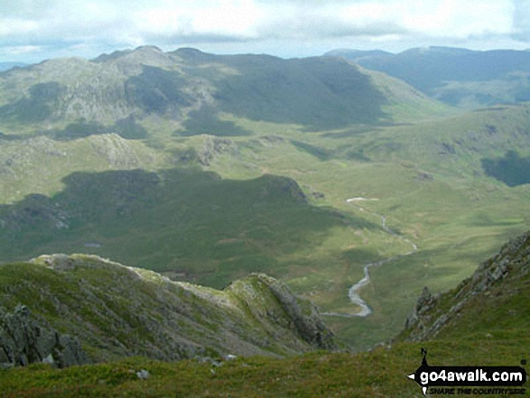 The River Esk and Crinkle Crags from Sca Fell