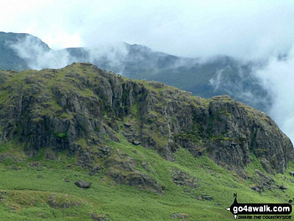 High Scarth Crag from Quagrigg Moss. Walk route map c166 The Scafell Masiff from Wha House Farm, Eskdale photo