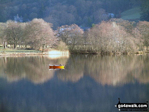 Fishing Boat on Grasmere. Walk route map c358 Seat Sandal, Fairfield and Heron Pike from Grasmere photo