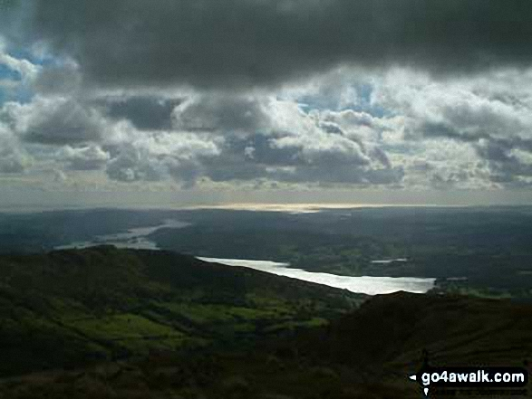 Windermere and Morecambe Bay from Red Screes. Walk route map c230 The Scandale Beck Horizon from Ambleside photo