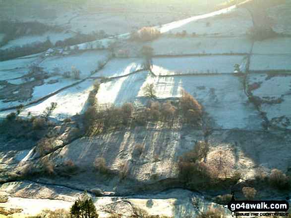 Frosty fields across Keskadale from Ard Crags. Walk route map c345 Knott Rigg and Ard Crags from Little Town photo