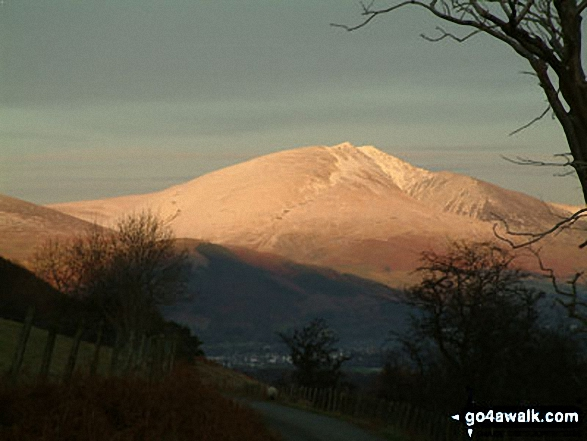 Sunset on Blencathra or Saddleback from Birkrigg. Walk route map c345 Knott Rigg and Ard Crags from Little Town photo