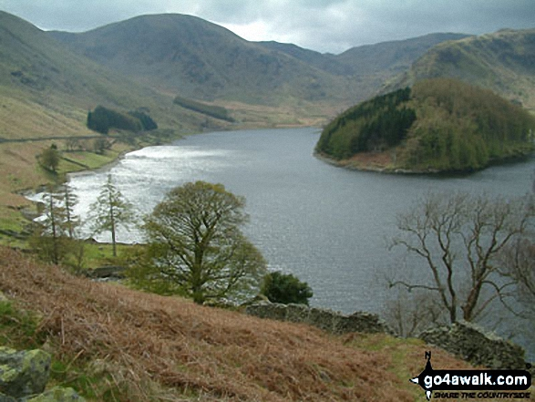 Haweswater and Harter Fell from Selside Pike. Walk route map c251 The Mardale Head Horizon from Mardale Head photo