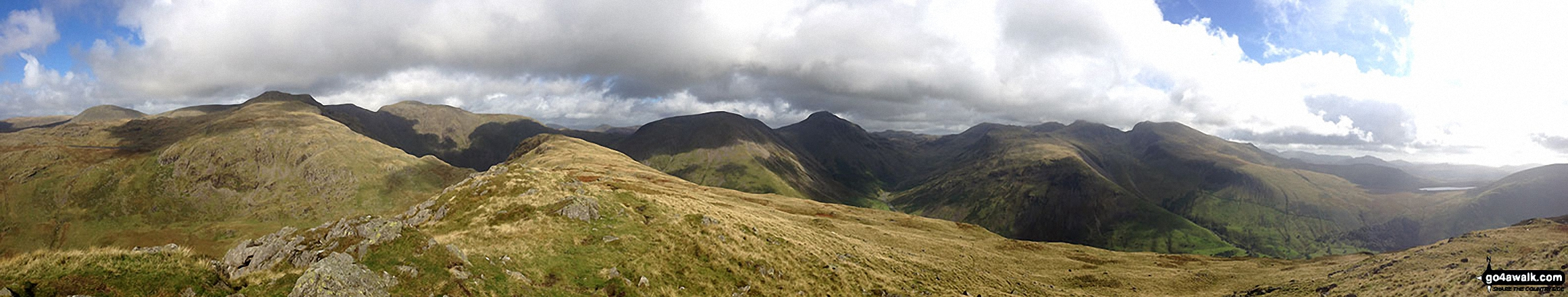 Haycock, Little Scoat Fell, Red Pike (Wasdale), Pillar, Top of Stirrup Crag, Kirk Fell, Great Gable, Great End, Lingmell, Scafell Pike, Sca Fell, Slightside, Harter Fell (Eskdale) and Burnmoor Tarn from the summit of Yewbarrow