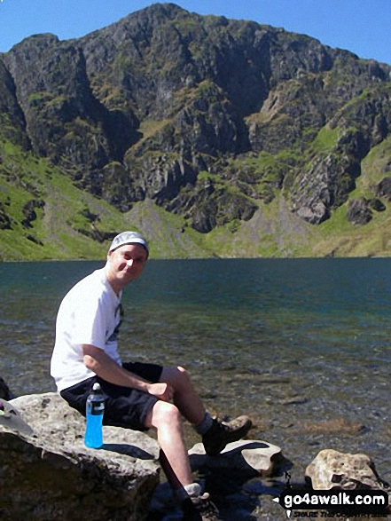 My mate Tony at Llyn Cau on the Minffordd Path with Cadair Idris in the background