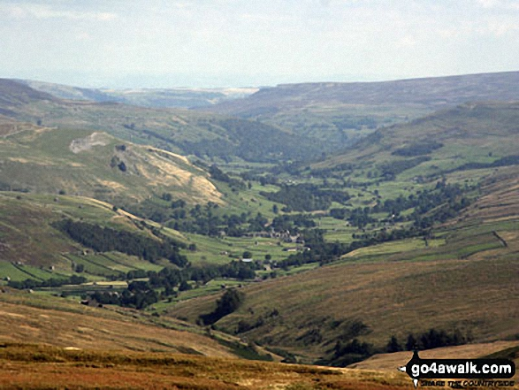 Mucker Valley taken from about half way down Great Shunner Fell. Walk route map ny149 Great Shunner Fell from Hawes photo