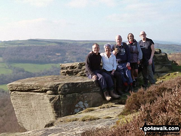 David Morecroft and friends from the Jubilee Walkers on Curbar Edge above Baslow. Walk route map d139 Froggatt Edge, Curbar Edge, The Derwent Valley and Grindleford from Hay Wood, Longshaw photo