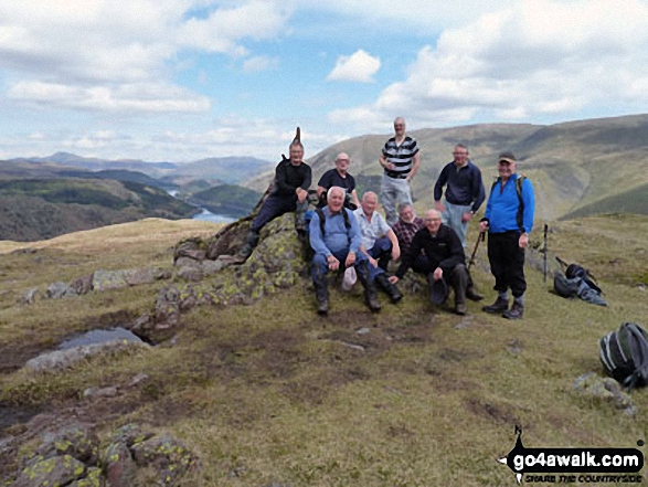 Runaway Ramblers from Bury on top of Steel Fell (Dead Pike) in early May