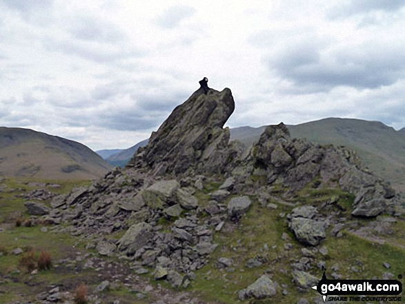 David Morecroft on top of the 'Howitzer', Helm Crag