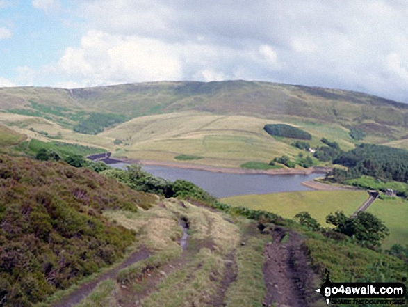 Kinder Reservoir from Middle Moor (Hayfield). Walk route map d171 Lantern Pike and Cown Edge Rocks from Hayfield photo