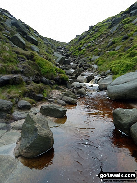 Approaching Kinder Plateau at Fairbrook Naze (Kinder Scout) via Fair Brook