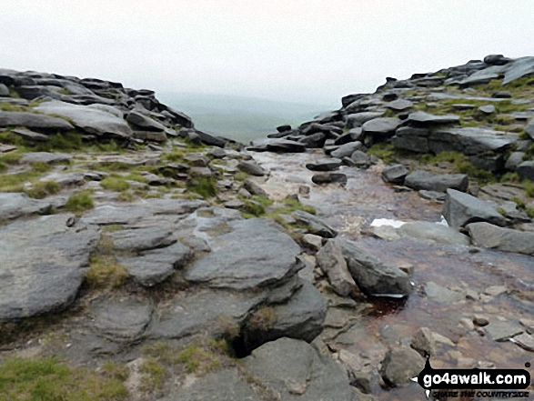 The River Kinder flowing towards the waterfall at Kinder Downfall on the Kinder Scout Plateau