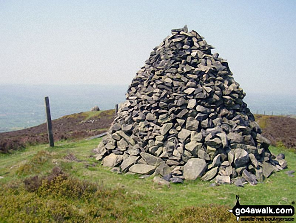 The larger beacon or cairn on the summit of Moel Dywyll<br> on The Offa's Dyke Path