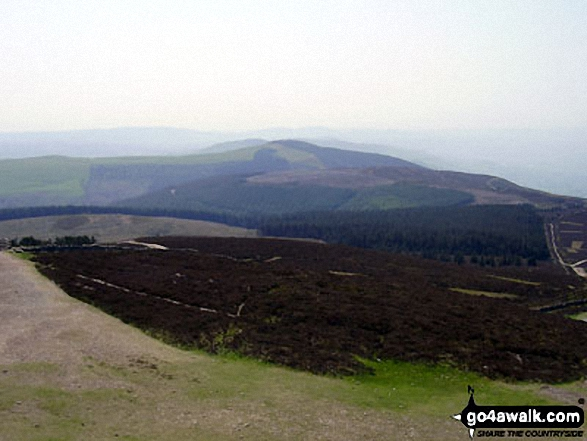 Foel Fenlli and Bwlch Penbarras from The Offa's Dyke Path<br> on the summit of Moel Famau