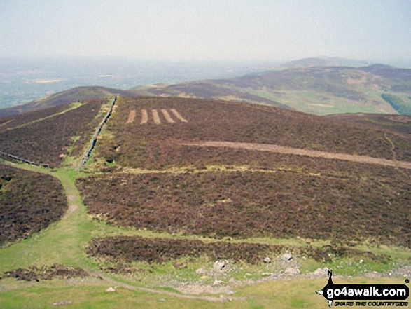 Moel Dywyll, Moel Llys, Moel Arthur and The Offa's Dyke Path<br>from the summit of Moel Famau