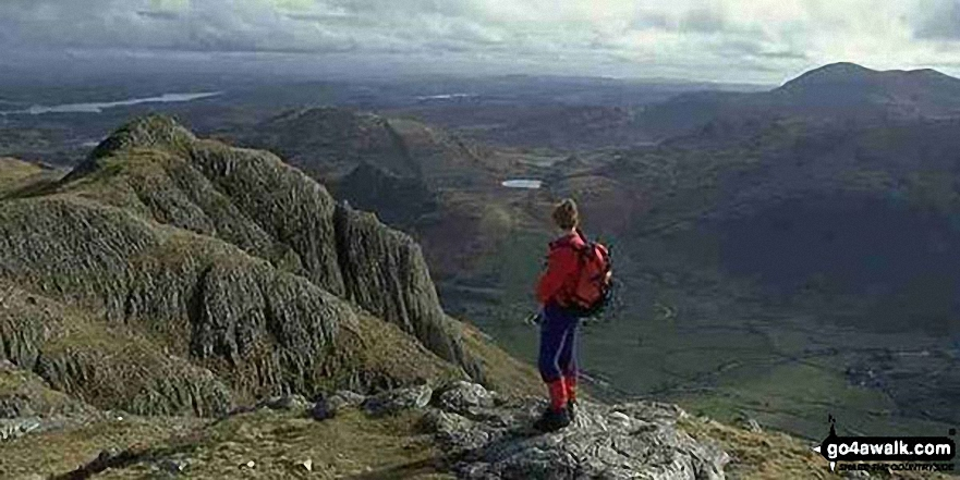 Me on the summit of Pike of Stickle, The Langdale Pikes with Windermere (far left), Loft Crag (near left), Lingmoor Fell (across Great Langdale), Blea Tarn (centre) and Pike of Blisco (right)