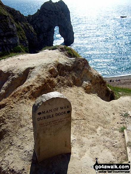Durdle Door. Walk route map do101 Swyre Head and The Jurassic Coast from Durdle Door photo