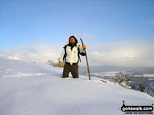 My brother Peter knee deep in snow on tap o' the Bin of Cullen